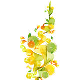 Orange and lime juice splash with abstract wave Stock Photo