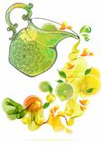 Orange and lime juice splash Royalty Free Stock Photo