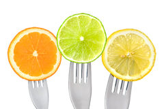 Orange lime and lemon slices isolated Royalty Free Stock Image