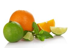 Orange, lime and orange slices, spearmint Royalty Free Stock Photography