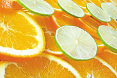 Orange and lime slices Royalty Free Stock Images