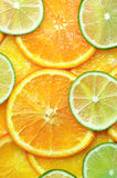 Orange and lime slices background Royalty Free Stock Photos