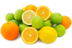 Group of Orange, limes and lemon citrus fruits Stock Images
