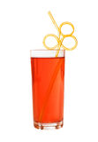 Orange limonade with funny straw Stock Photography