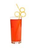 Orange limonade mit lustigem Stroh Stockfotografie