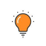 Orange linear bulb icon Royalty Free Stock Photos