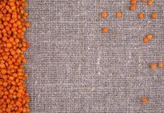 Orange Linsen auf einem Leinenhintergrund Stockfotografie