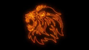 Orange Lion Head Animated Logo mit decken Effekt auf vektor abbildung