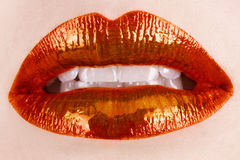 Orange lips Stock Image