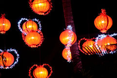 Orange-lit Chinese lantern Royalty Free Stock Photos