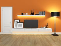 Orange living room with tv stand and bookcase Stock Images