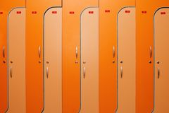 Orange lockers Stock Photos