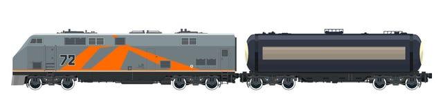 Orange Locomotive with Tank Car Isolated Royalty Free Stock Image