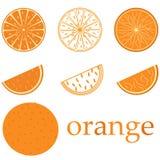 Orange Logo Saftige Orange Firmenzeichen für Zitrusfruchtfirma Stockbilder