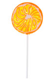 Orange lollipop. Isolated on whit Royalty Free Stock Photography
