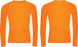 Orange long sleeved t shirt. Front and back view, vector illustration Royalty Free Stock Image