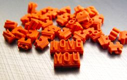 Orange Love You Cutout Decor Royalty Free Stock Photography