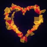 Orange low poly Illustration with a heart in a centre. Design element isolated on dark background. 3d rendering. Brand new style for your business design Stock Photos