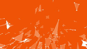 Orange low poly surface as crystal mesh. Polygonal digital mosaic shifting environment or transforming shining stock footage