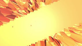 Orange low poly surface as fantastic landscape. Polygonal digital mosaic shifting environment or transforming shining. Background in cartoon low poly popular stock footage