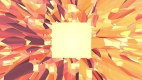 Orange low poly surface as futuristic environment. Polygonal digital mosaic shifting environment or transforming shining stock footage