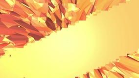 Orange low poly surface as futuristic landscape. Polygonal digital mosaic shifting environment or transforming shining stock footage