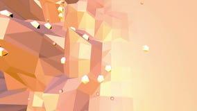 Orange low poly surface as geometric grid. Polygonal digital mosaic shifting environment or transforming shining stock footage