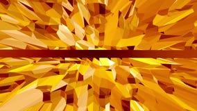 Orange low poly surface as geometric mesh. Polygonal digital mosaic shifting environment or transforming shining stock video footage