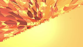Orange low poly surface as landscape or crystal structure. Polygonal digital mosaic shifting environment or transforming stock video