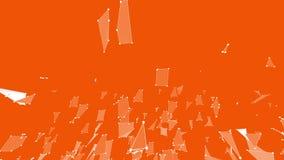 Orange low poly surface as math environment. Polygonal digital mosaic shifting environment or transforming shining stock footage