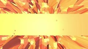 Orange low poly surface as mathematical visualization. Polygonal digital mosaic shifting environment or transforming stock video