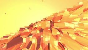 Orange low poly surface as paysage or video game. Polygonal digital mosaic shifting environment or transforming shining stock footage
