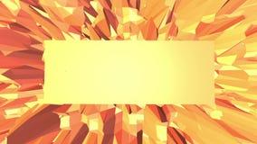 Orange low poly surface as space environment. Polygonal digital mosaic shifting environment or transforming shining stock video footage