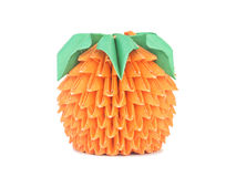 Orange lumineuse avec des lames. Origami. Photographie stock libre de droits