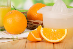 Orange macrophoto against a juice extractor Royalty Free Stock Photography