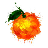 Orange  made of colorful splashes Stock Photo