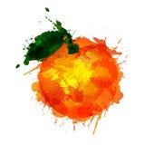 Orange  made of colorful splashes. On white background Stock Illustration