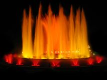 Orange magic fountain. Montjuic magic fountain. A lights,colors and music spectacle at night, displayed in magic fountains situated in Barcelona (Spain Stock Photography