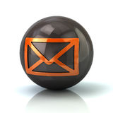 Orange mail icon on black glossy sphere. 3d illustration on white background Royalty Free Stock Images