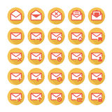 Orange mail icons. Set of vector icons of universal e-mail Royalty Free Stock Photo