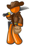 Orange Man Adventurer with Machete Royalty Free Stock Photo