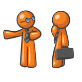 Orange Man Affiliate Marketing. Orange Man presenting his colleague to a practical business solution, concept in affiliate marketing, website sales conversions stock illustration