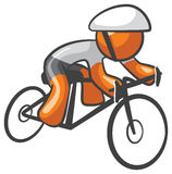 Orange Man Bike Rider Athlete Royalty Free Stock Images