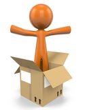 Orange man in box. An illustration of an orange man popping out of a box Royalty Free Stock Image