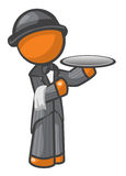 Orange Man Butler With Hat Stock Photos