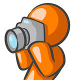 Orange man with camera Stock Photo