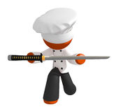 Orange Man Chef Bowing with Ninja Sword Royalty Free Stock Images
