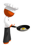 Orange Man Chef with Frying Pan and Egg Cooking Stock Images