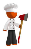 Orange Man Chef Holding Ax Upright. On white Royalty Free Stock Photos