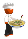 Orange Man Chef holding Bow of Noodles. On white Royalty Free Stock Images